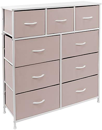 Sorbus Dresser with 9 Drawers - Bedside Furniture & Night Stand End Table Dresser for Home, Bedroom Accessories, Office, College Dorm, Steel Frame, Wood Top (9-Drawer, Pink)