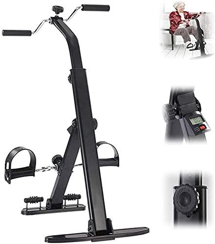 FCPLLTR Ejercicio de pedal plegable de edad avanzado, compacto bajo escritorio Mini Mini Fitness Bicicleta Pequeña Bicicleta Fitness Equipo con LCD Monitor, dispositivo de entrenamiento de rehabilitac