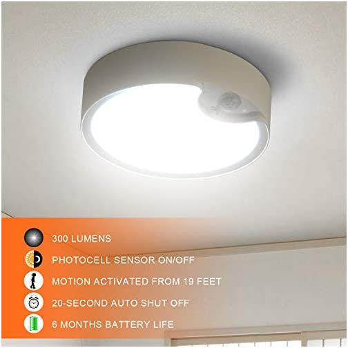 TOOWELL Motion Sensor Ceiling Light Battery Operated Indoor/Outdoor LED Ceiling Lights for Hallway Laundry Stairs Garage… 4