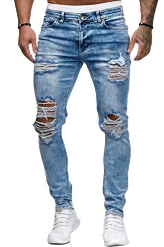 WanYangg Zerschlissene Jeans mit Patches Herren,Basic Zerrissene Jeans Zerrissene Hosen Männer Coole Slim Fit Jeanshose Skinny Denim Jeans Destroyed Tapered Bein Hosen Stretch