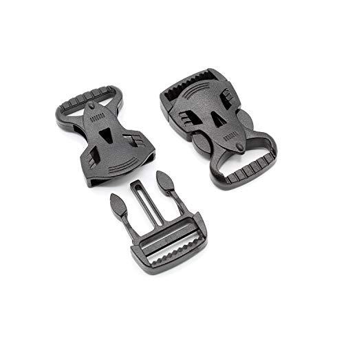 HeavyTool Push-Fit Buckle, 20 mm, Black, Straight 'Beast' POM Acetal [Pack of 10]