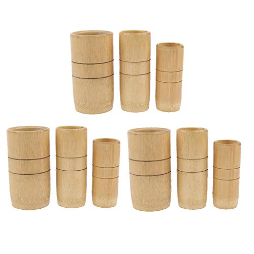 IPOTCH 9pcs Bois Naturel De Bambou Anti Cellulite Massage Vide Ventouses Ventouses Set Kit Pour La Maison Salon Spa Douleur Soulagement De Raideur