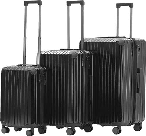 Münicase M816 TSA-Schloß Koffer Reisekoffer Trolley Kofferset Hardschale Boardcase Handgepäck (Schwarz, 3tlg. Kofferset)