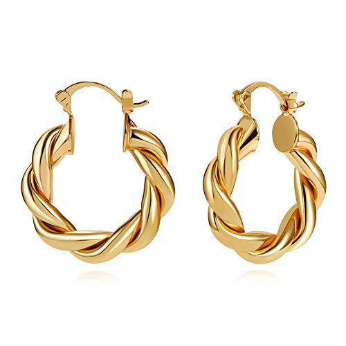 LILIE&WHITE Twisted Gold Chunky Hoop Earrings For Women 14K Gold Plated High Polished Lightweight Hoops For Girls Fashion Jewelry