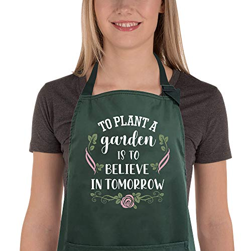 Saukore Funny Garden Aprons for Women, Waterproof Kitchen Aprons with 2 Pockets for Cooking Baking...