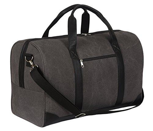 SONTOKO Stabiler Weekender aus Baumwolle-Canvas, Große Reisetasche im Vintage Look, Handgepäck mit 45 Liter (55x25x35 cm) für Damen & Herren in Graubraun