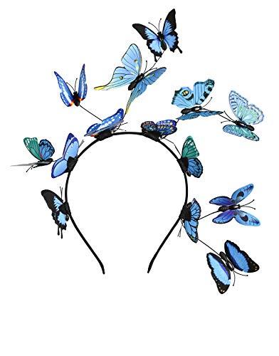 Butterfly Fascinator Hat Monarch Derby Headband Festival Crown Halloween Costume Bohemian Wedding Headpiece (B-Blue)