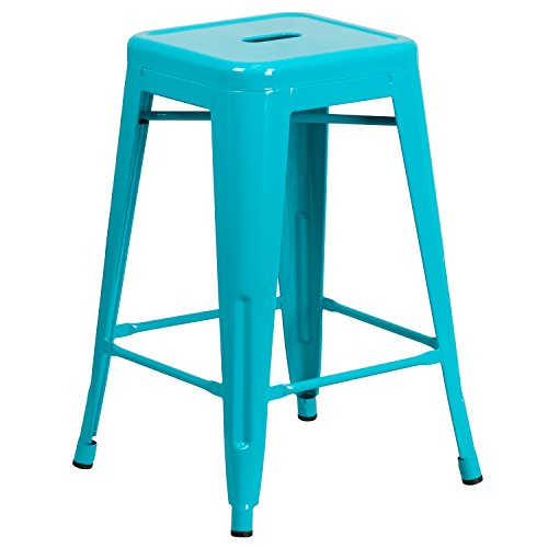 Flash Furniture Commercial Grade 24 High Backless Crystal Teal-Blue Indoor-Outdoor Counter Height Stool