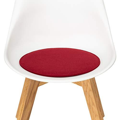 FILU Sitzkissen aus Filz 2er-Pack Dunkelrot rund (Farbe und Form wählbar) 35 cm – Sitzkissen für drinnen und draußen, Deko für jeden Stuhl im Wohnzimmer oder Esszimmer, Gartenstuhl/Balkonstuhl