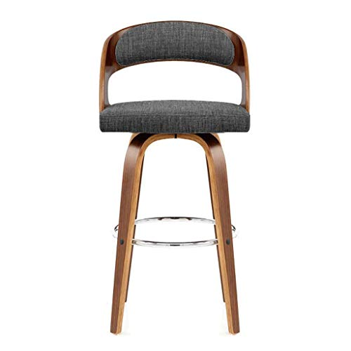 Barhocker Hausbar Massivholz Stuhl Rückenlehne hoch Hocker Hochstuhl Startseite Drehstuhl (Color : Dark Gray Cloth)