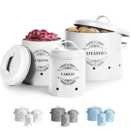 Virklyee® Tarros de patatas Tarro de cebolla Tarro de ajo Juego de 3 Frascos de almacenamiento para frutas y verduras Tanque de almacenamiento de metal Botes para alimentos (Blanco)