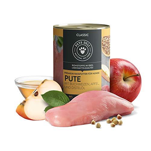 PETS DELI - NATURAL PET FOOD Nassfutter für Hunde | Pute mit Buchweizen, Apfel, und Distelöl | 2,4 kg - 6er-Pack