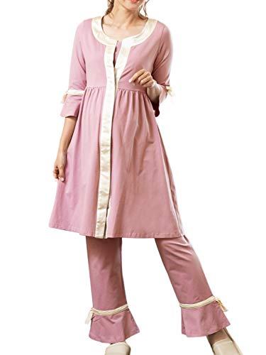 Sweet Mommy マタニティパジャマ 前開き 上下セット 長袖 授乳 ワンピースタイプ ルームウェア ウエスト調節機能 シルクリボン 入院準備 S ピンク