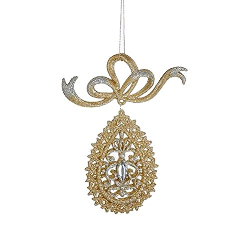 KSA 6' Gold and Silver Glittered Teardrop with Gem Dangling Christmas Ornament