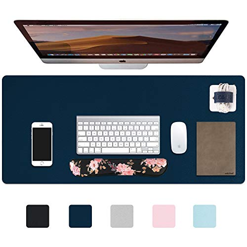 iCasso Desk Pad, Waterproof PU Leather Desk Blotter Protector Mouse Pad, Smooth Surface Desk Mat, Large Durable Desk Writing Pad for Work, Game, Office, Home Accessories - 35.4