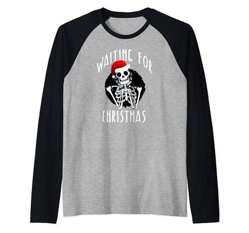 WAITING FOR CHRISTMAS Skeleton Funny Santa Hat Xmas Meme Raglan Baseball Tee