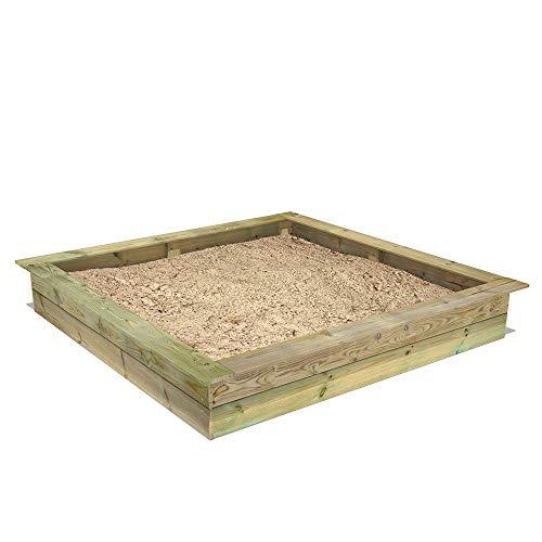 FATMOOSE Sandkasten Holz Sandkiste PowerPit 195 x 195 cm