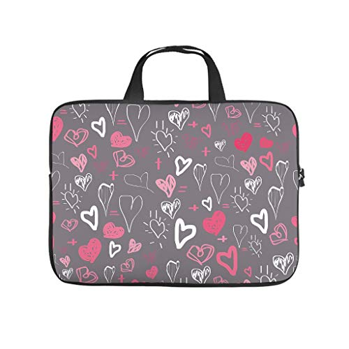 Love Colourful Hearts Double Sided Printed Laptop Bag Protective Case Durable Neoprene Laptop Case Bag Personalised Laptop Sleeve Case for Laptop Computer