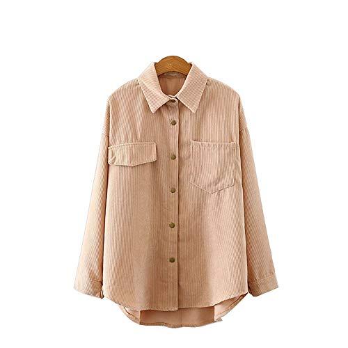 DISCOUNTL Langärmlige Hemdjacke aus Cord mit Hemd Damen hemdbluse Elegante Hemd Damen Damen losem Revers für Damen (Produkt enthält nur Shirt)