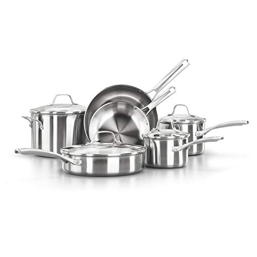 Calphalon Classic Pots And Pans Set, 10-Piece Cookware Set, Stainless Steel
