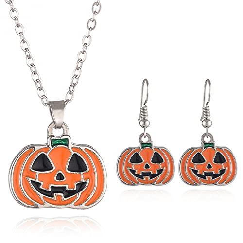 Conjunto De Joyas De Halloween Europeo Y Americano Collar De Calabaza Fantasma De Dibujos Animados Pendientes De Halloween Joyería