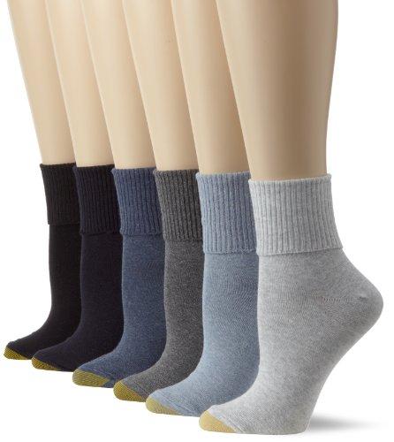 Gold Toe Women's Classic Turn Cuff Socks, 6 Pairs, Grey Blue Mix, Shoe Size: 6-9