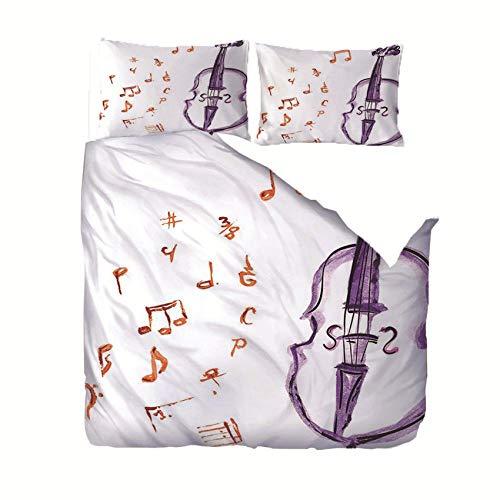 Weiß Bettwäsche-Set Musikinstrument Geige Muster Mikrofaser Bettbezug und 2 80x80cm Kissenbezug weiche Flauschige mit Reißverschluss 140x200cm