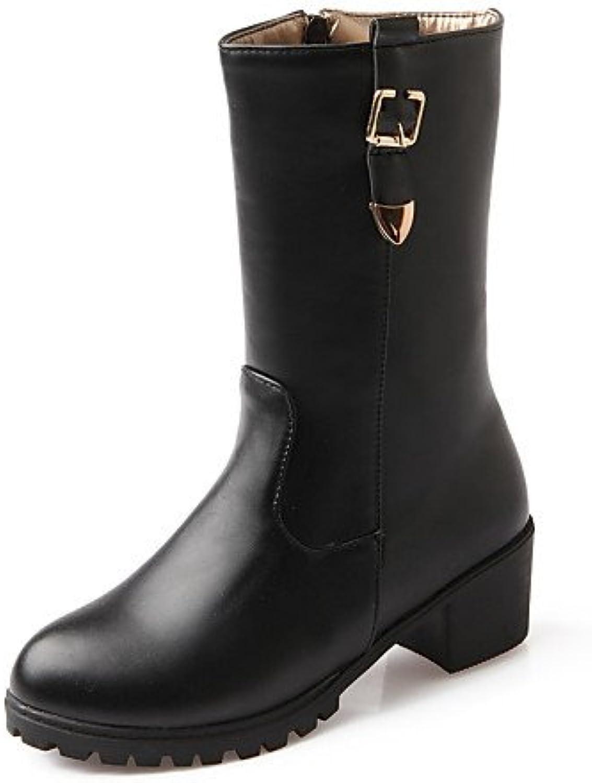 XZZ  Damenschuhe - - - Stiefel - Büro   Kleid   Lässig - Kunstleder - Blockabsatz - Rundeschuh   Geschlossene Zehe - Schwarz   Braun  870c2c