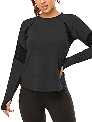 Zentrex Women's Workout Shirts Long Sleeve Running Yoga Athletic T-Shirt Activewear with Thumb Hole (Black, L)