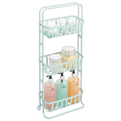 mDesign Estantería de baño móvil – Mueble organizador estrecho con 3 cestas metálicas – Estante de metal compacto para el cuarto de baño – verde menta