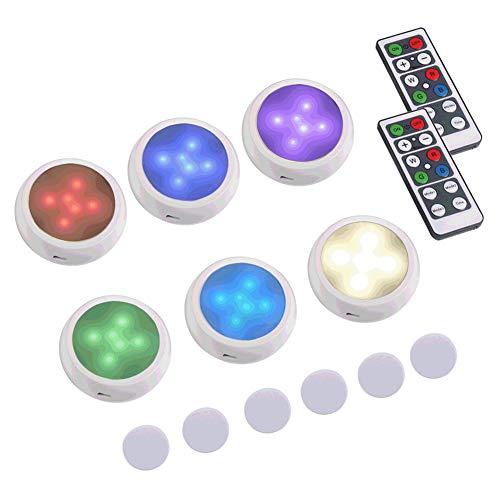 Luz de Armario, Sebami 6 Packs Luces para Gabinetes LED Luces Nocturnas LED Inalámbricas con 2 Remoto ,Alimentado por Batería (no...