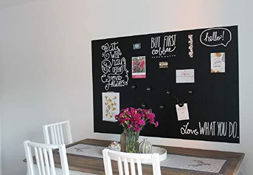 Magnet Tafel Folie Farbe:schwarz | 15 Größen | Preis-Leistung Top - beschreibbar, abwischbar, magnetisch | selbstklebende Magnettafel - Klebefolie - für Hoch- und Querformat (100x50cm)