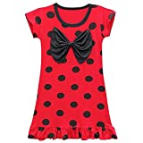 Lito Angels Ladybug Mariquita Vestido Casual de Verano para Niñas, Ropa de Dormir Pijamas Camisones, Talla 7-8 años, Lunares Rojos, Manga Corta