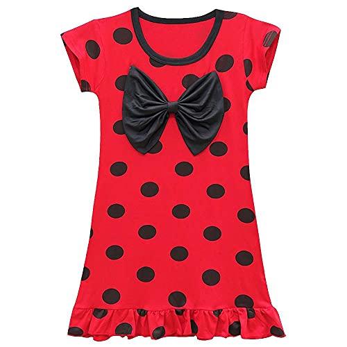 Lito Angels Ladybug Disfraz de lunares rojos Disfraces para niñas Ropa de dormir Traje de fiesta de cumpleaños Pijamas Camisón Camisón Vestido de noche de 3 a 4 años