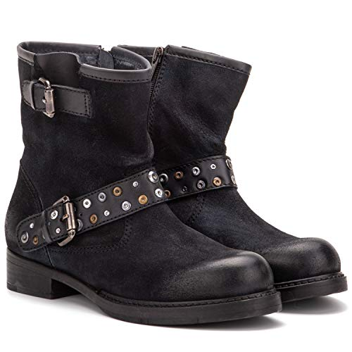 Vintage Foundry Co. Miriam Women's Fashion Casual Western Biker Rugged Black Leather Buckled Studded Side Zip Ankle-Boos, Round-Toe, Stacked Heel Platform, Leather-Rubber Outsole, Size 8