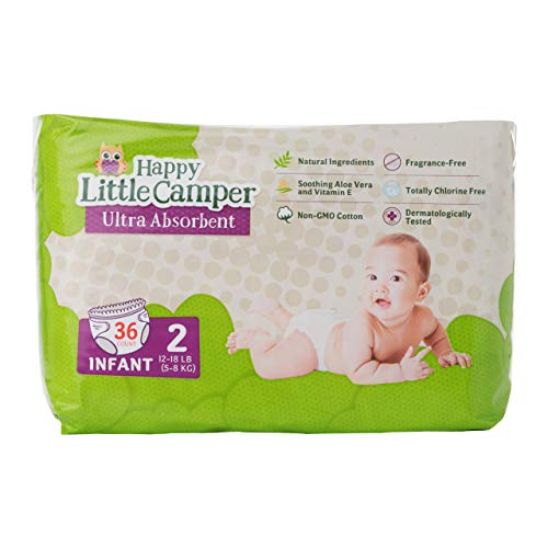 Happy Little Camper Natural Diapers, Disposable Cotton Baby Diapers with Aloe, Ultra-Absorbent, Hypoallergenic and Fragrance Free for Sensitive Skin, Size 2 (12-18 lbs), 36 Count