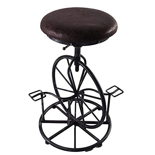 Retro Diseño Creativo Pedal Monociclo Forma Silla De Barra De Hierro Forjado Silla De Barra Elevable Adecuada para Bar Hogar Comercial,Soft Side