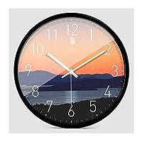 WEM 壁掛け時計電池式ノンカチカチクォーツ12インチブラックラウンドメタルフレーム日の出装飾寝室リビングルーム室内装飾時計,A.