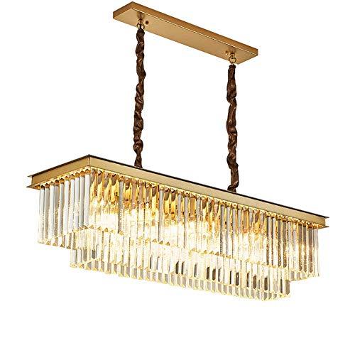 HJW Rechteckige Kristallküche Insel Anhänger Beleuchtung Leuchtvorrichtung 39''Long Moderne Regentropfen Kronleuchter 14-Licht Hängende Deckenleuchte Für Den Essen Wohnzimmer Billardtisch,Golden.