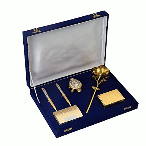 JEWEL FUEL Gold Plated Gift Box With Rose, Playing Cards, Feng-Shui Tortoise, Pen And Visiting Card Holder (10 x 5.5 x 3.5 cm, Gold)