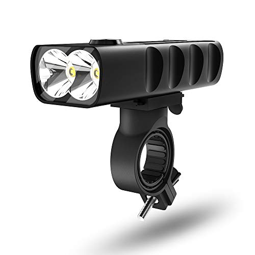 MEIDI Luz Delantera Bicicleta LED Impermeable,USB Recargable Luces Para Bicicleta, 2600 mAH Luz de Bicicleta de Aleación de Aluminio para Ciclismo Carretera y Montaña para la Noche