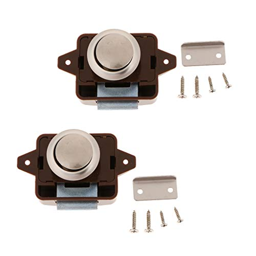 Almencla 2er Pack Schrankschloss, Schlüsselloser Druckknopf Schrankverschluss Für Wohnmobile, Reisemobile, Schränke, Schränke Und Türen (braun)