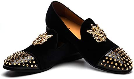 Burgundy loafers with spikes _image2