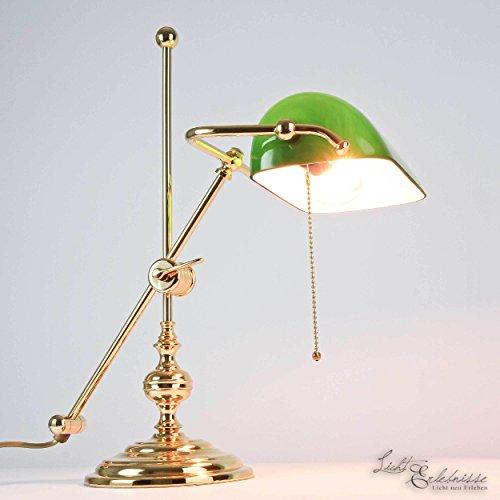 Bankerlampe Gold 24 Karat Echt-Messing Glasschirm Grün Jugendstil Handarbeit Zugschalter E27 Schreibtischlampe