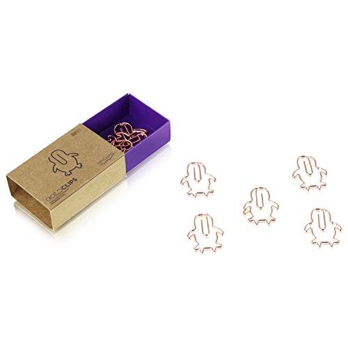 DESIGNMANUFAKTUR BERLIN GOLDCLIPS niedliche süße Deko Clips Büroklammern Heftklammern Lesezeichen Paperclip rose vergoldet in schöner Verpackung, Motiv Pinguin