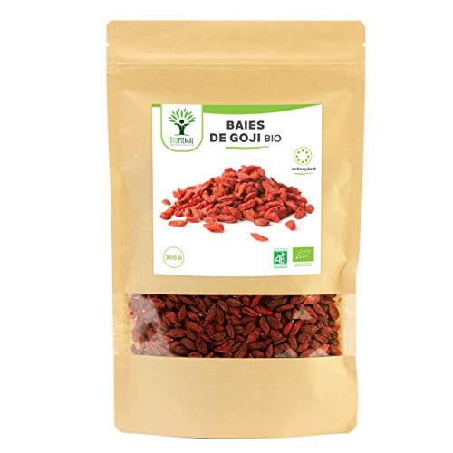 Baies de Goji bio - Bioptimal - Fruit Sec Riche en Vitamines - Energie - Antioxydant - Perte de Poids - Baie de Goji Sans Sucre, Sans Soufre - Made in France - Certifié Ecocert - 300 g