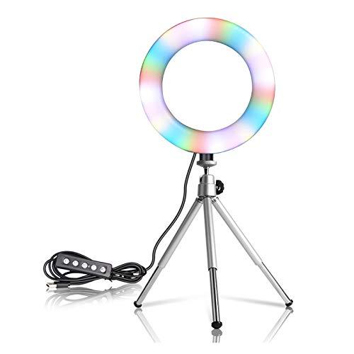 Lámpara de Anillo de Anillo de Video LED Lámpara de Anillo de Selfie 15 Colores 3 Modelo con trípode Soporte USB Enchufe para Youtube Maquillaje en Vivo Fotografía Youtube TIK Tok