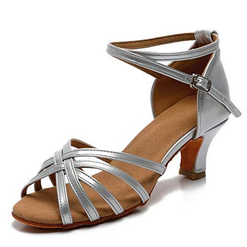 VASHCAME - Damen Hoher Absatz Tanzschuhe Standard/Latein Silber (Absatzhöhe-5CM) 39 EU