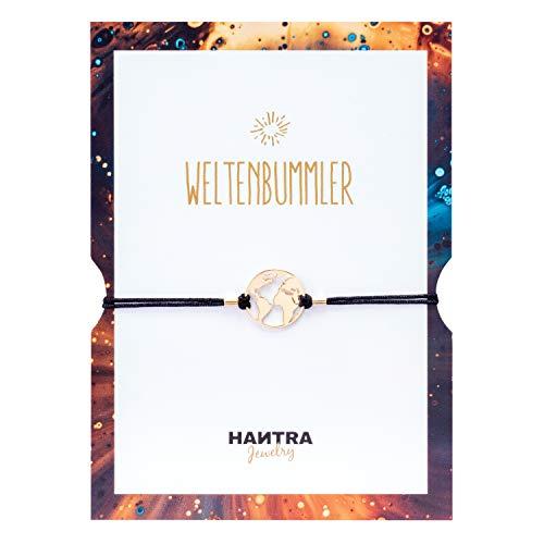 HANTRA Weltkugel Armband Damen mit echtem 925er Sterling (23K vergoldet) - handgefertigtes Geburtstagsgeschenk für Freunde und Familie - Dankeschön Geschenke geliefert in edlem Geschenkumschlag