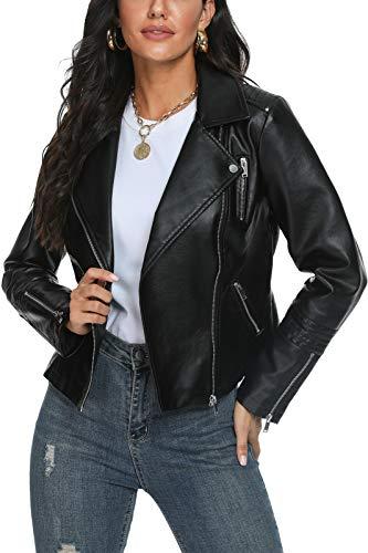 Fahsyee Women's Leather Jackets, Faux Motorcycle Plus Size Moto Biker Coat Short Lightweight Vegan Pleather Fashion, Black, L